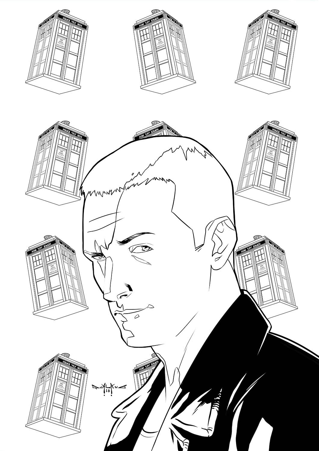 pasquale-qualano-portfolio-covers-Doctor-Who-9th-Doctor-Inks---