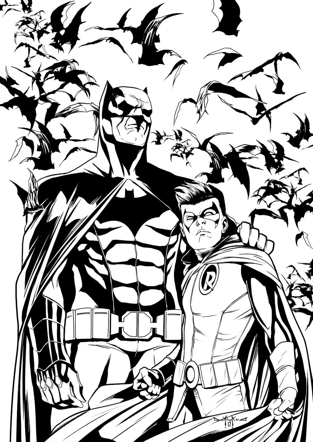 pasquale-qualano-portfolio-covers-Batman-Il-Cavaliere-Oscuro-#-50-Inks-Cover---